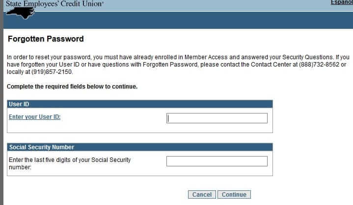 Forgot NCSECU Password